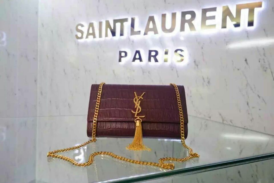 2015 New Saint Laurent Bag Cheap Sale-Classic Monogram Saint Laurent Tassel Satchel in Burgundy Embossed Crocodile Leather
