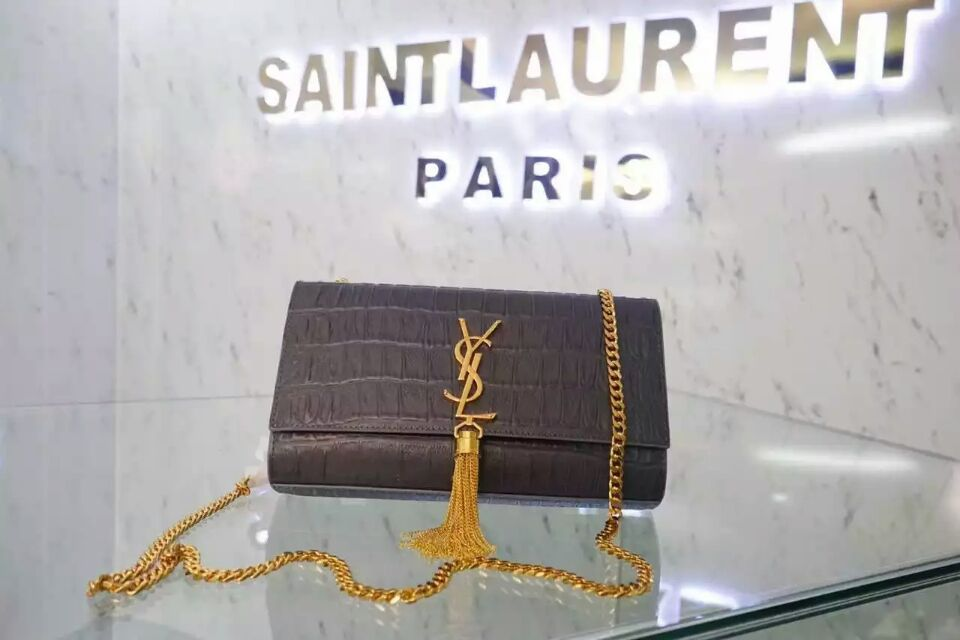 2015 New Saint Laurent Bag Cheap Sale-Classic Monogram Saint Laurent Tassel Satchel in Grey Embossed Crocodile Leather