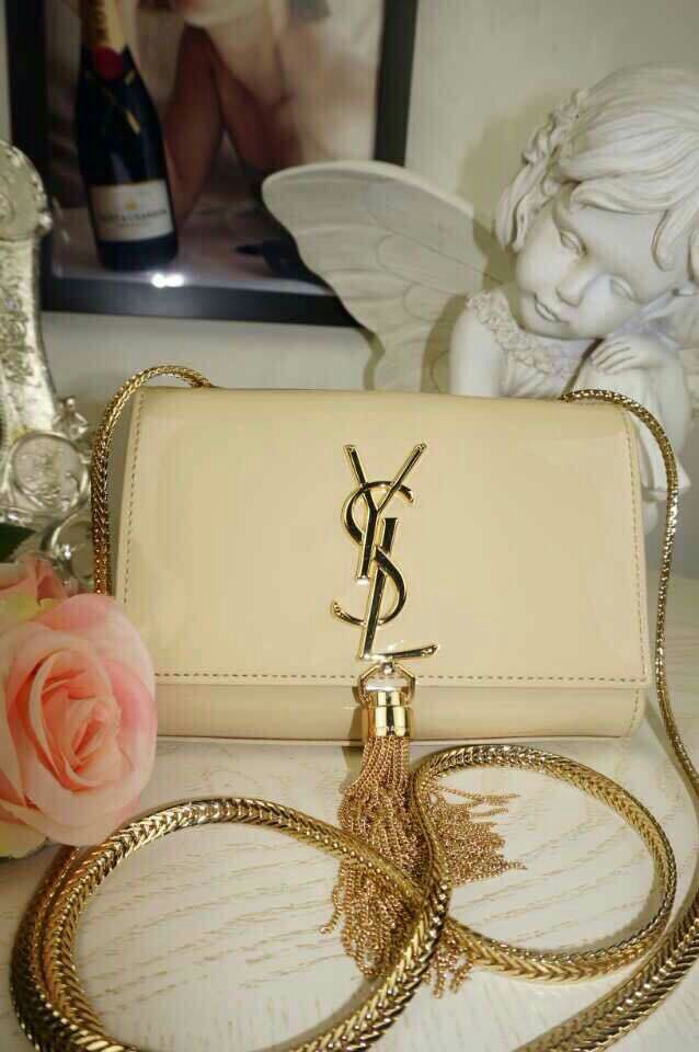 2015 New Saint Laurent Bag Cheap Sale-Classic Small MONOGRAM SAINT LAURENT Tassel Satchel in White Patent-leather