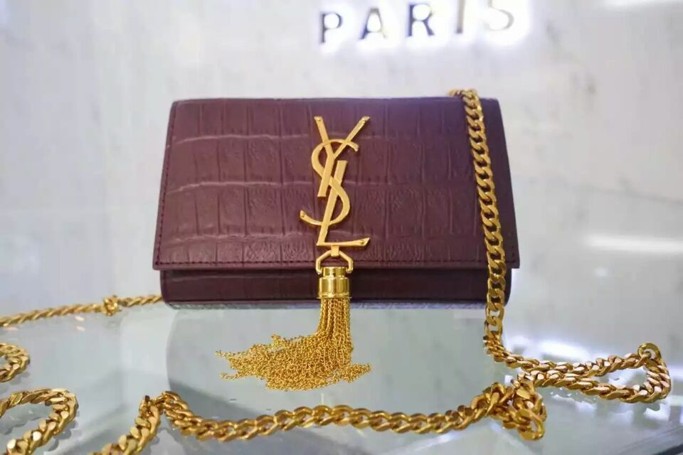 2015 New Saint Laurent Bag Cheap Sale-Small Monogram Saint Laurent Tassel Satchel in Burgundy Embossed Crocodile Leather