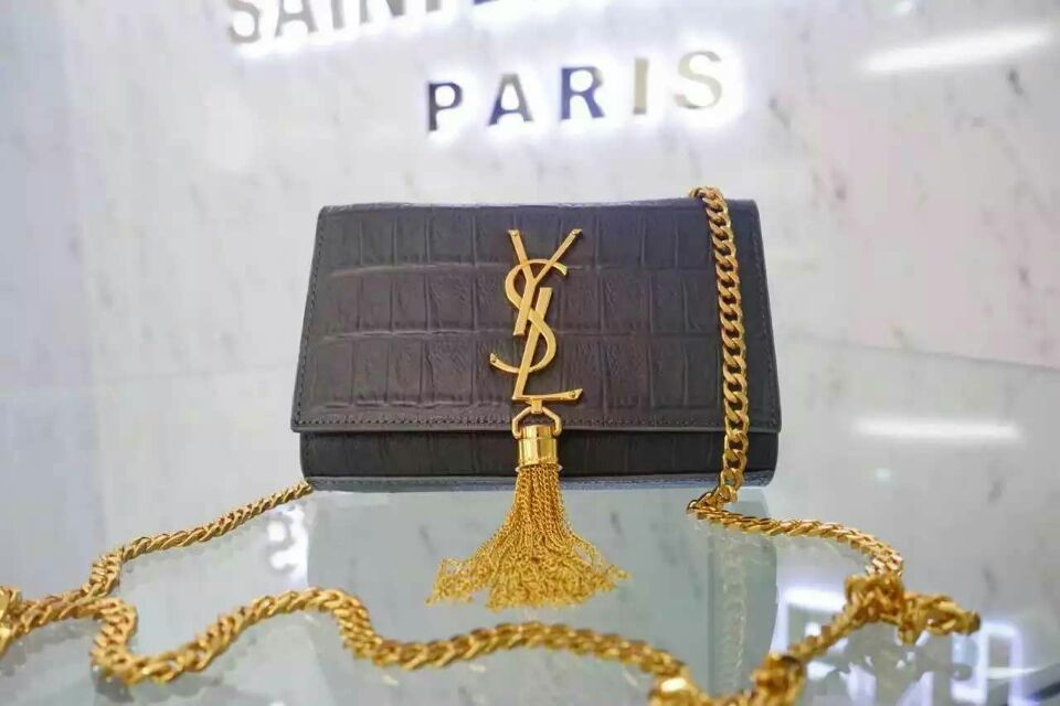 2015 New Saint Laurent Bag Cheap Sale-Small Monogram Saint Laurent Tassel Satchel in Grey Embossed Crocodile Leather