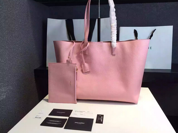 2015 New Saint Laurent Bag Cheap Sale-Saint Laurent Shopping Tote in Light Pink Leather