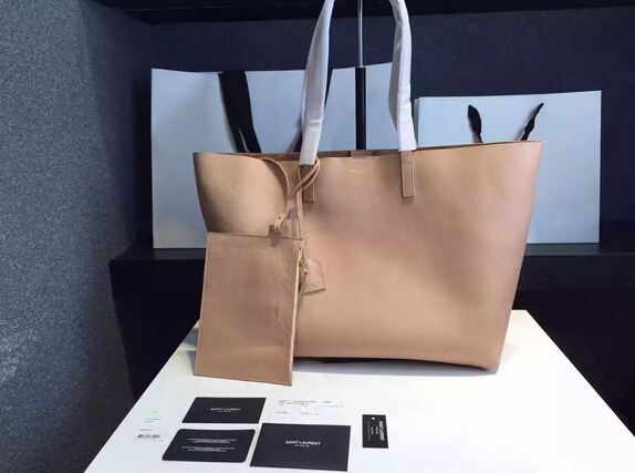 2015 New Saint Laurent Bag Cheap Sale-Saint Laurent Shopping Tote in Dark Beige Leather