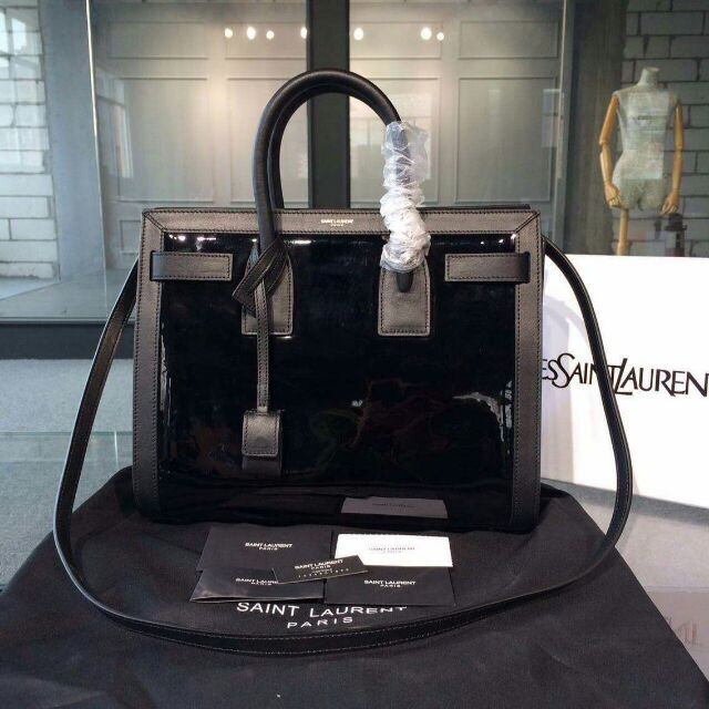 2015 New Saint Laurent Bag Cheap Sale- Saint Laurent Small SAC DE JOUR Bag in Black Patent Leather