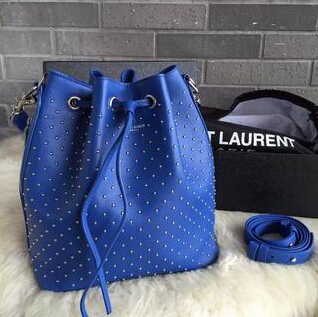 2015 New Saint Laurent Bag Cheap Sale-Saint Laurent Medium Emmanuelle Bucket Bag in Royal Blue Leather and Silver-Toned Metal Studs