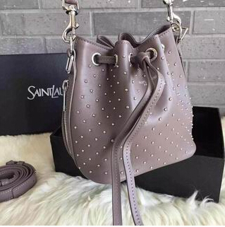 2015 New Saint Laurent Bag Cheap Sale-Saint Laurent Small Emmanuelle Bucket Bag in Fog Leather and Silver-Toned Metal Studs