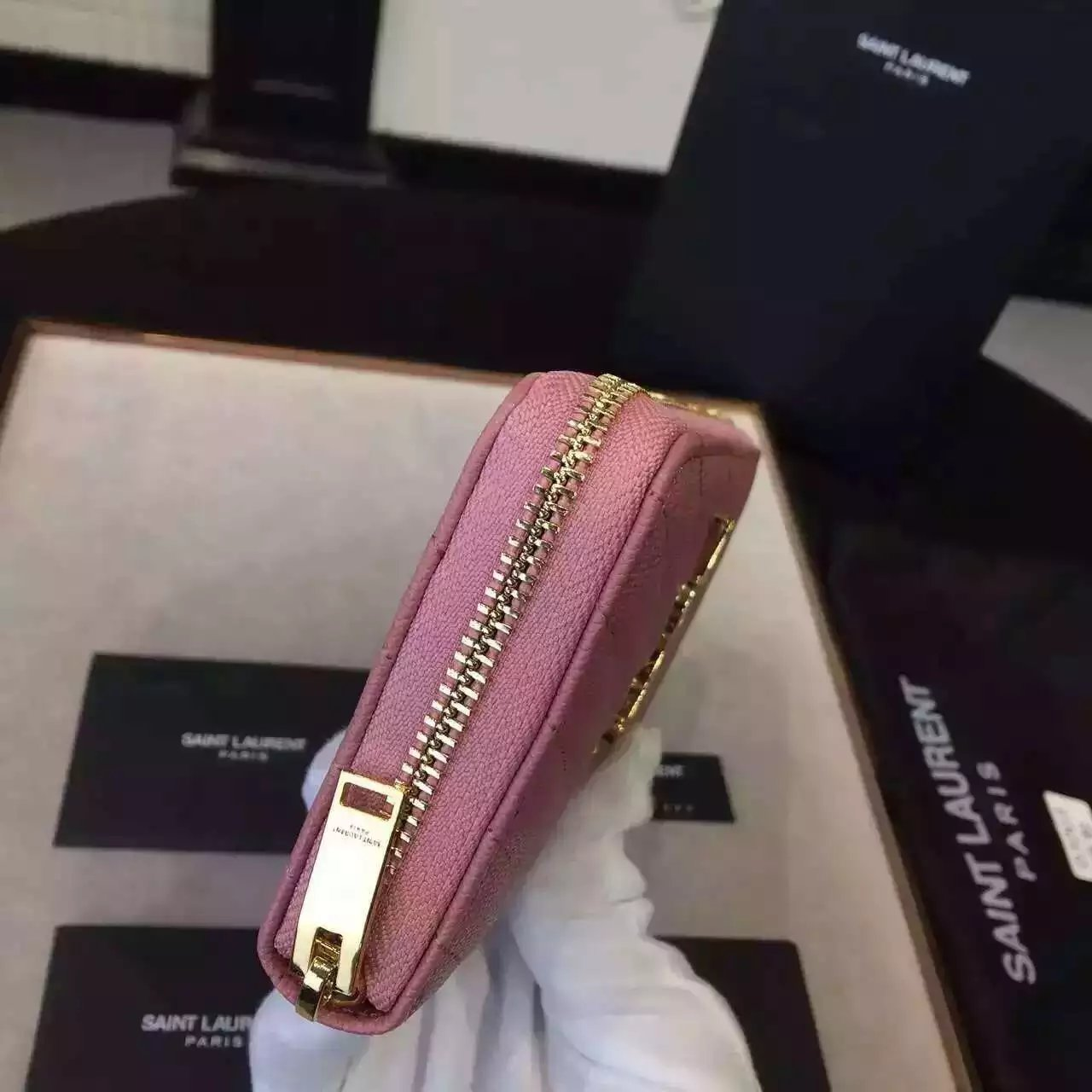 2016 Cheap YSL Out Sale with Free Shipping-Saint Laurent Monogram Zip Around Wallet in Pink Grain De Poudre Matelasse Textured Leather