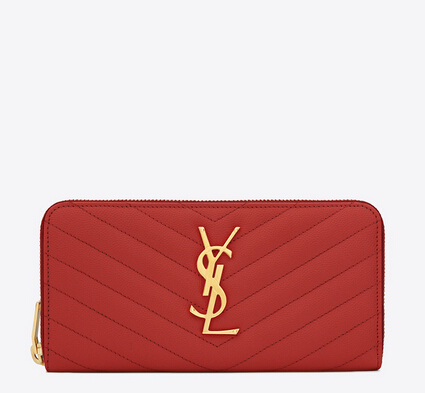 2016 Cheap YSL Out Sale with Free Shipping-Saint Laurent Monogram Zip Around Wallet in Lipstick Red Grain De Poudre Matelasse Textured Leather