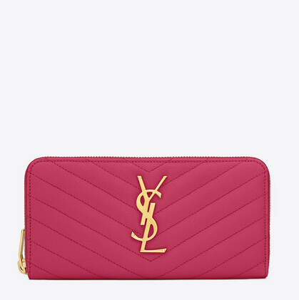 2016 Cheap YSL Out Sale with Free Shipping-Saint Laurent Monogram Zip Around Wallet in Lipstick Fuchsia Grain De Poudre Matelassé Textured Leather