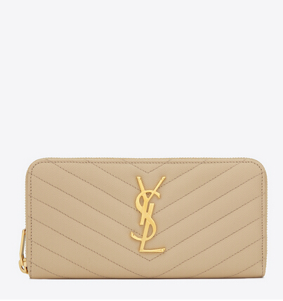 2016 Cheap YSL Out Sale with Free Shipping-Saint Laurent Monogram Zip Around Wallet in Powder Grain De Poudre Matelassé Textured Leather