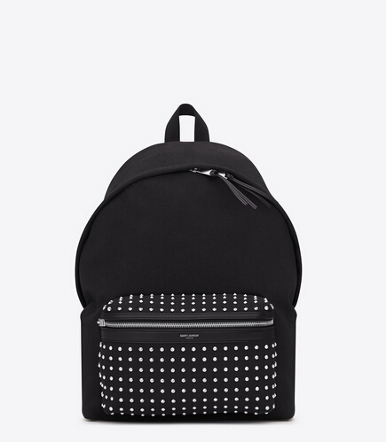 2016 Saint Laurent Bags Cheap Sale-Saint Laurent Classic Hunting Backpack in Black Cotton Canvas, Leather and Oxidized Nickel Studs