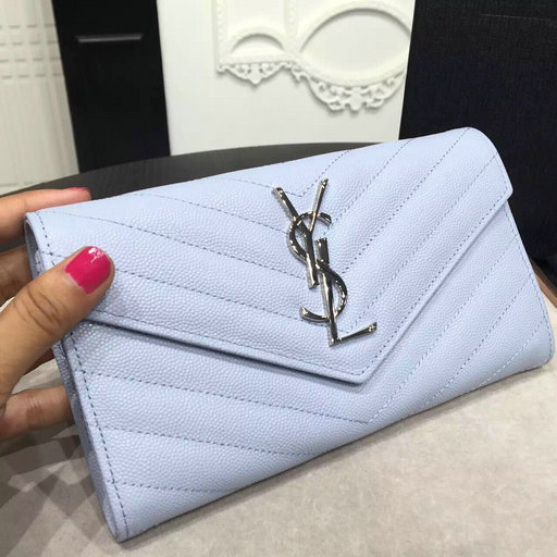 2016 Cheap YSL Out Sale with Free Shipping-Saint Laurent Large Monogram Flap Wallet in Creamy Blue Grain de Poudre Textured matelasse Leather