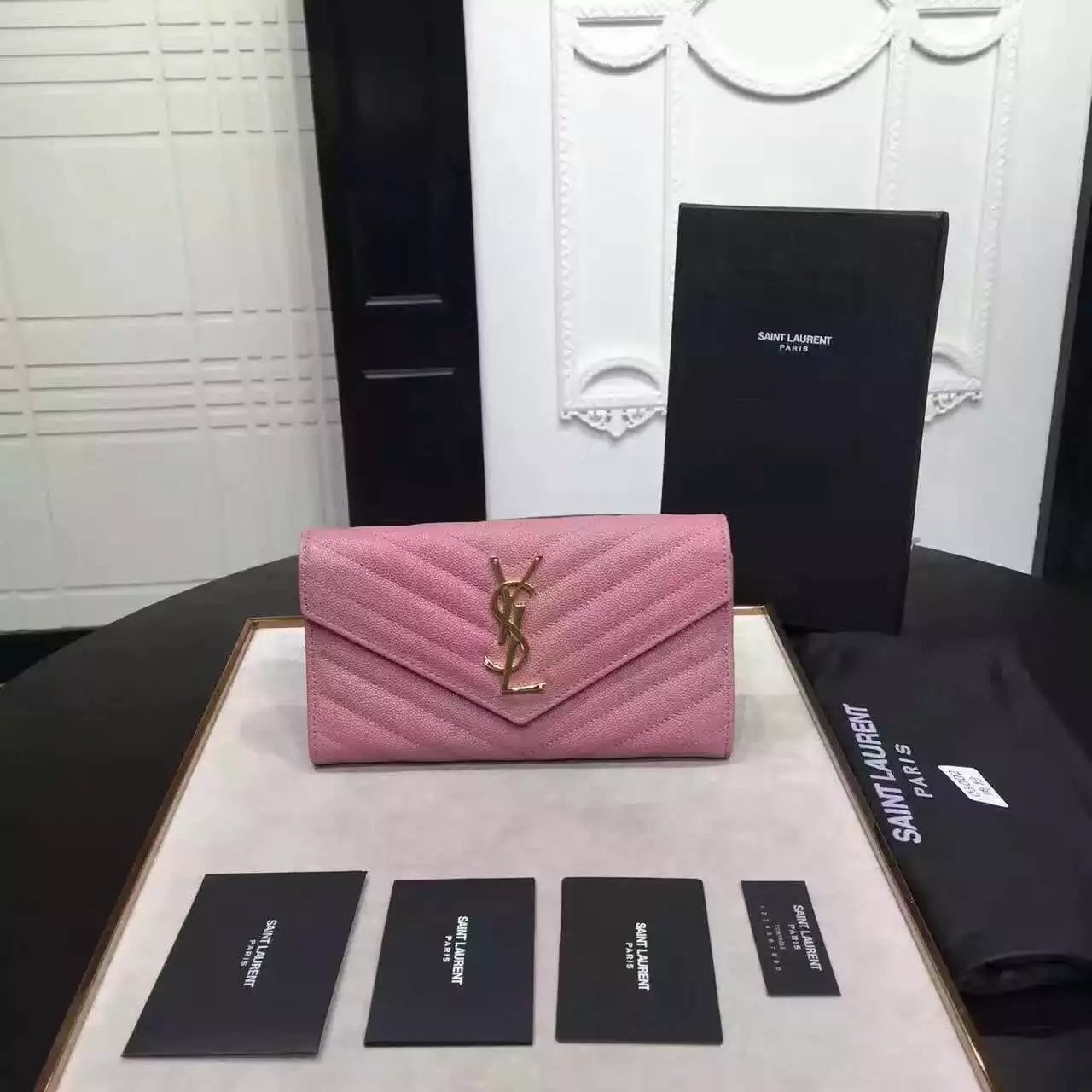 9882d58474b 2016 Cheap YSL Out Sale with Free Shipping-Saint Laurent Large Monogram  Flap Wallet in