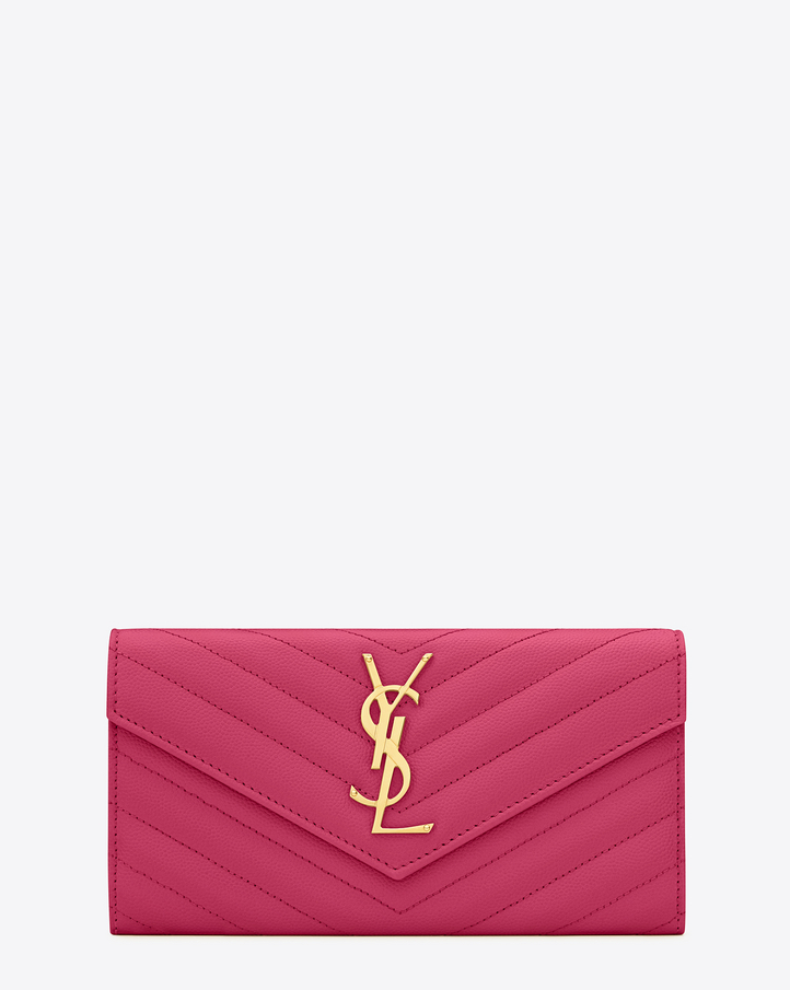 2016 Cheap YSL Out Sale with Free Shipping-Saint Laurent Large Monogram Flap Wallet in Lipstick Fuchsia Grain de Poudre Textured matelassé Leather