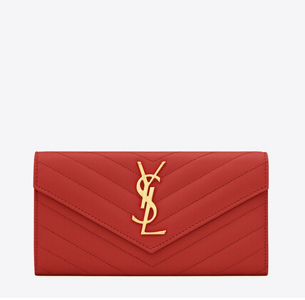 2016 Cheap YSL Out Sale with Free Shipping-Saint Laurent Large Monogram Flap Wallet in Lipstick Red Grain de Poudre Textured matelassé Leather