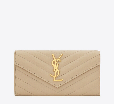 2016 Cheap YSL Out Sale with Free Shipping-Saint Laurent Large Monogram Flap Wallet in Powder Grain de Poudre Textured matelassé Leather