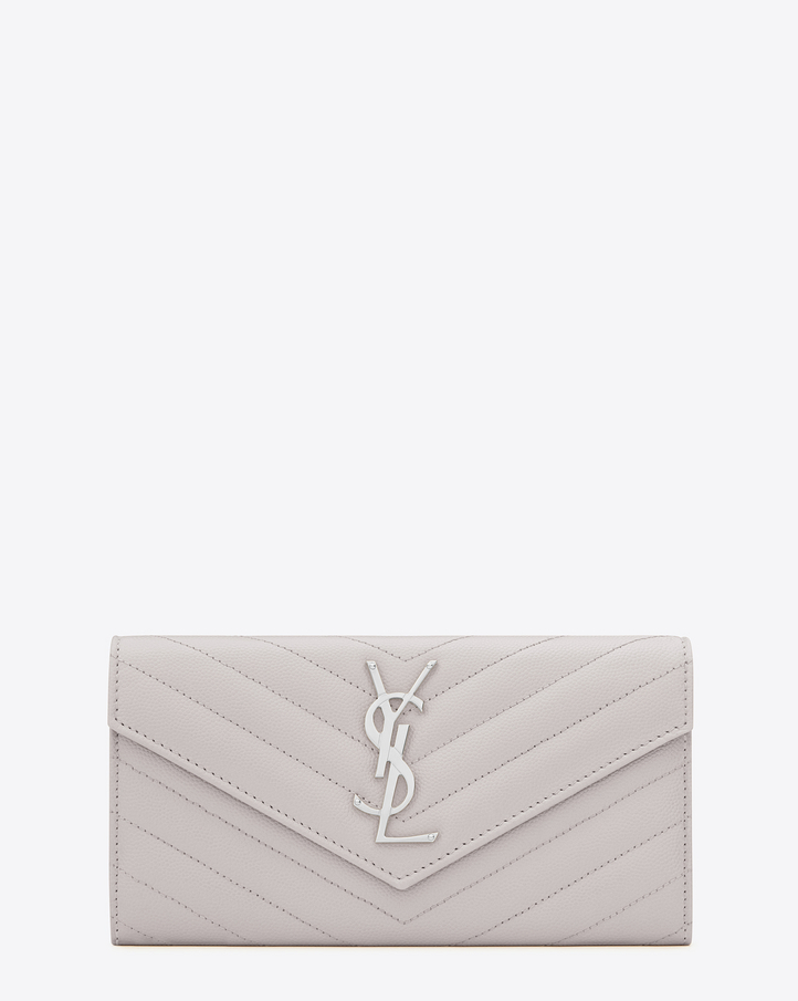 2016 Cheap YSL Out Sale with Free Shipping-Saint Laurent Large Monogram Flap Wallet in Light Grey Grain de Poudre Textured matelassé Leather
