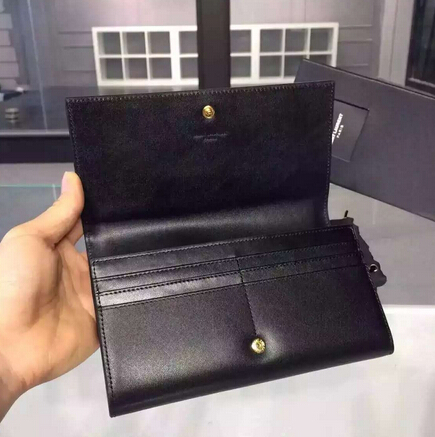 2015 New Saint Laurent Bag Cheap Sale-YSL Color Matching Wallet in Black Calfskin And Cherry Patent Leather