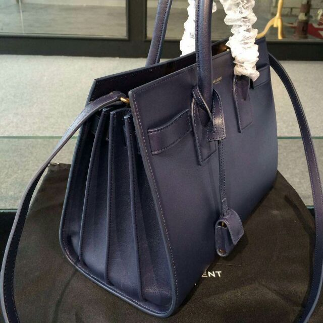 2015 New Saint Laurent Bag Cheap Sale-Saint Laurent Classic Nano Sac De Jour Bag in Navy Blue Leather