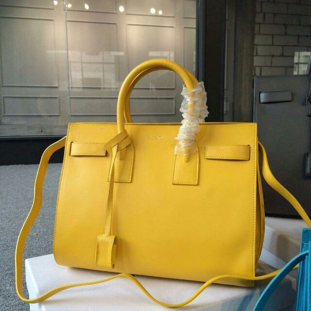 2015 New Saint Laurent Bag Cheap Sale-Saint Laurent Classic Nano Sac De Jour Bag in Yellow Leather
