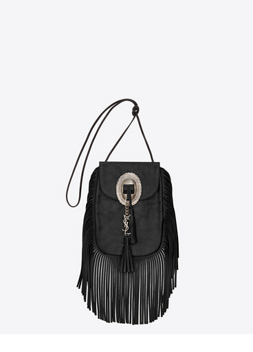 Hurry Up!F/W 2015 New Saint Laurent Bag Cheap Sale-Saint Laurent Anita Tasseled Flat Bag in Black Leather
