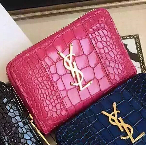 YSL Spring 2016 Collection Outlet-Saint Laurent Small Monogram Zip Around Wallet in Rose Crocodile Embossed Leather