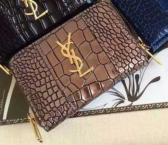 YSL Spring 2016 Collection Outlet-Saint Laurent Small Monogram Zip Around Wallet in Metallic Color Crocodile Embossed Leather