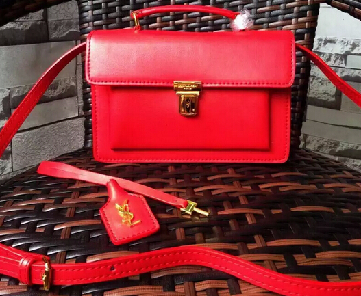 Fall/Winter 2015 Saint Laurent Bag Cheap Sale-Saint Laurent High School Satchel in Cherry Leather with Gold Buckle