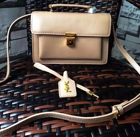Fall/Winter 2015 Saint Laurent Bag Cheap Sale-Saint Laurent High School Satchel in Light Apricot Leather with Gold Buckle