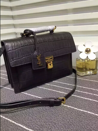 Fall/Winter 2015 Saint Laurent Bag Cheap Sale-Saint Laurent High School Satchel in Black Crocodile Embossed Leather with Gold Buckle