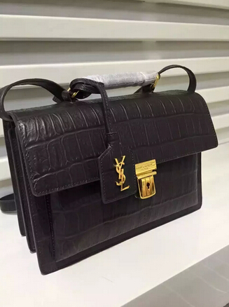 Fall/Winter 2015 Saint Laurent Bag Cheap Sale-Saint Laurent High School Satchel in Black Crocodile Embossed Leather with Gold Buckle - Click Image to Close