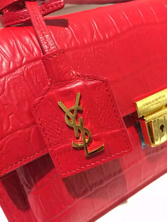 Fall/Winter 2015 Saint Laurent Bag Cheap Sale-Saint Laurent High School Satchel in Cherry Crocodile Embossed Leather with Gold Buckle