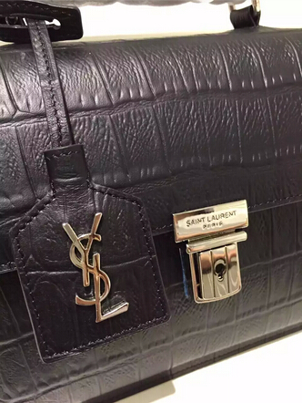 Fall/Winter 2015 Saint Laurent Bag Cheap Sale-Saint Laurent High School Satchel in Black Crocodile Embossed Leather with Silver Buckle