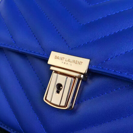 Fall/Winter 2015 Saint Laurent Bag Cheap Sale-Saint Laurent High School Satchel in Royal Blue Matelasse Leather - Click Image to Close