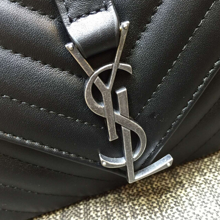 2015 New Saint Laurent Bag Cheap Sale-Saint Laurent Classic Medium COLLEGE MONOGRAM Saint Laurent Bag in Black MATELASSE Leather