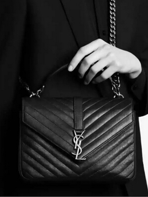2015 New Saint Laurent Bag Cheap Sale-Saint Laurent Classic Medium COLLEGE MONOGRAM Saint Laurent Bag in Black MATELASSE Leather - Click Image to Close