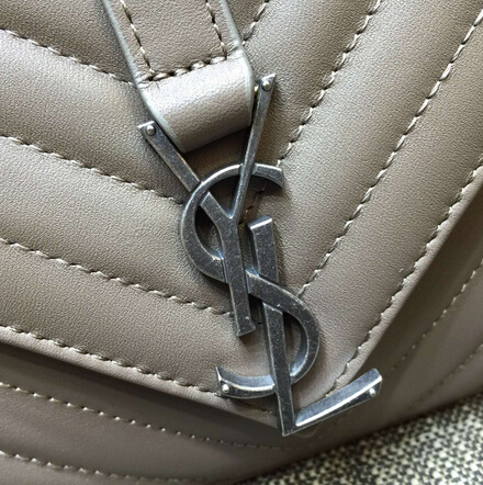 2015 New Saint Laurent Bag Cheap Sale-Saint Laurent Classic Medium COLLEGE MONOGRAM Saint Laurent Bag in Grey MATELASSE Leather - Click Image to Close