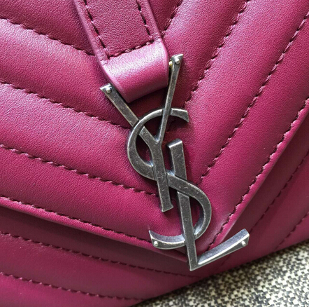 2015 New Saint Laurent Bag Cheap Sale-Saint Laurent Classic Medium COLLEGE MONOGRAM Saint Laurent Bag in Wine MATELASSE Leather - Click Image to Close