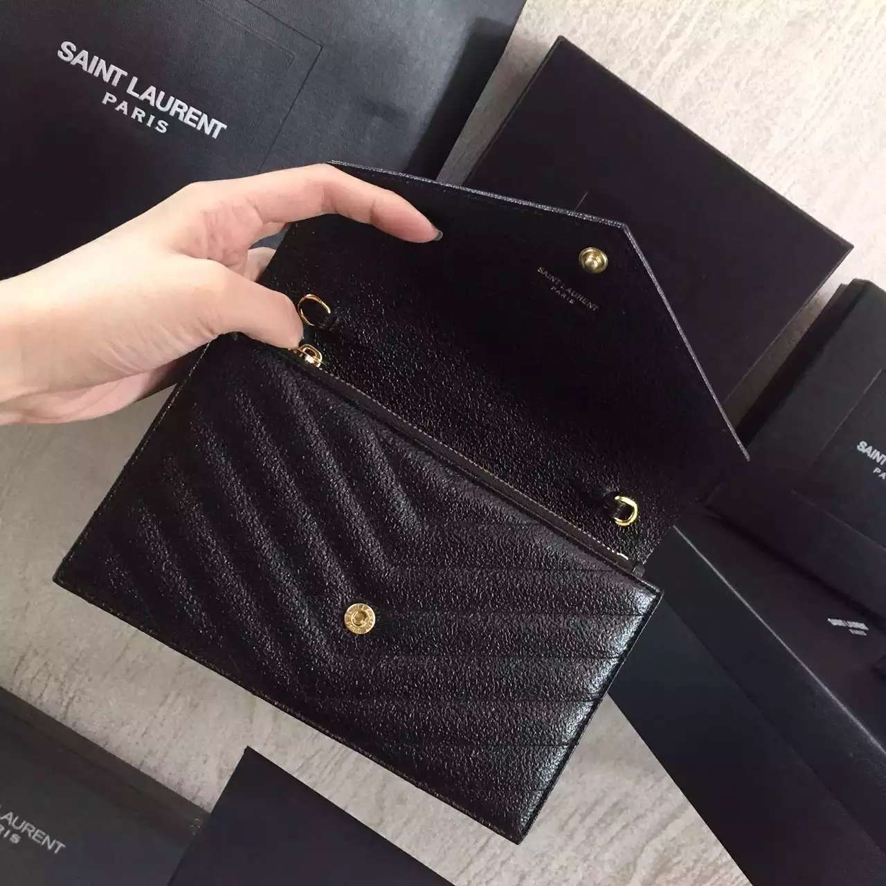 2016 Cheap YSL Out Sale with Free Shipping-Saint Laurent Monogram Envelope Chain Wallet in Black Grained Matelasse Metallic Leather