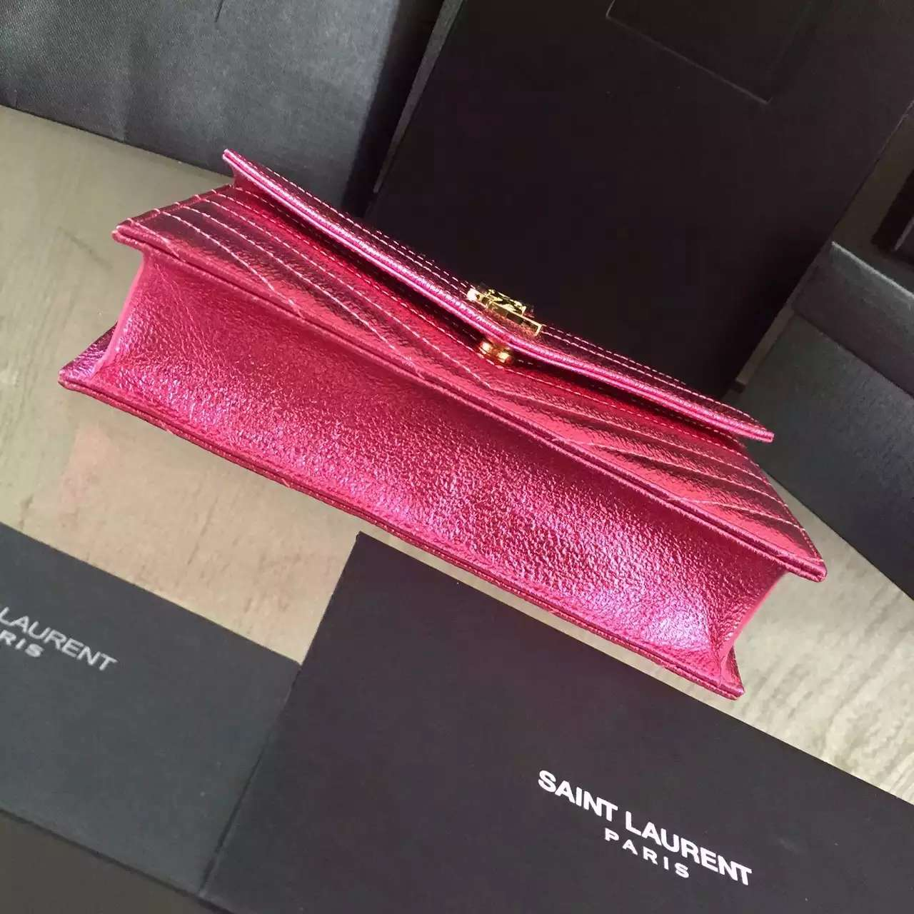 2016 Cheap YSL Out Sale with Free Shipping-Saint Laurent Monogram Envelope Chain Wallet in Lipstick Fuchsia Grained Matelasse Metallic Leather