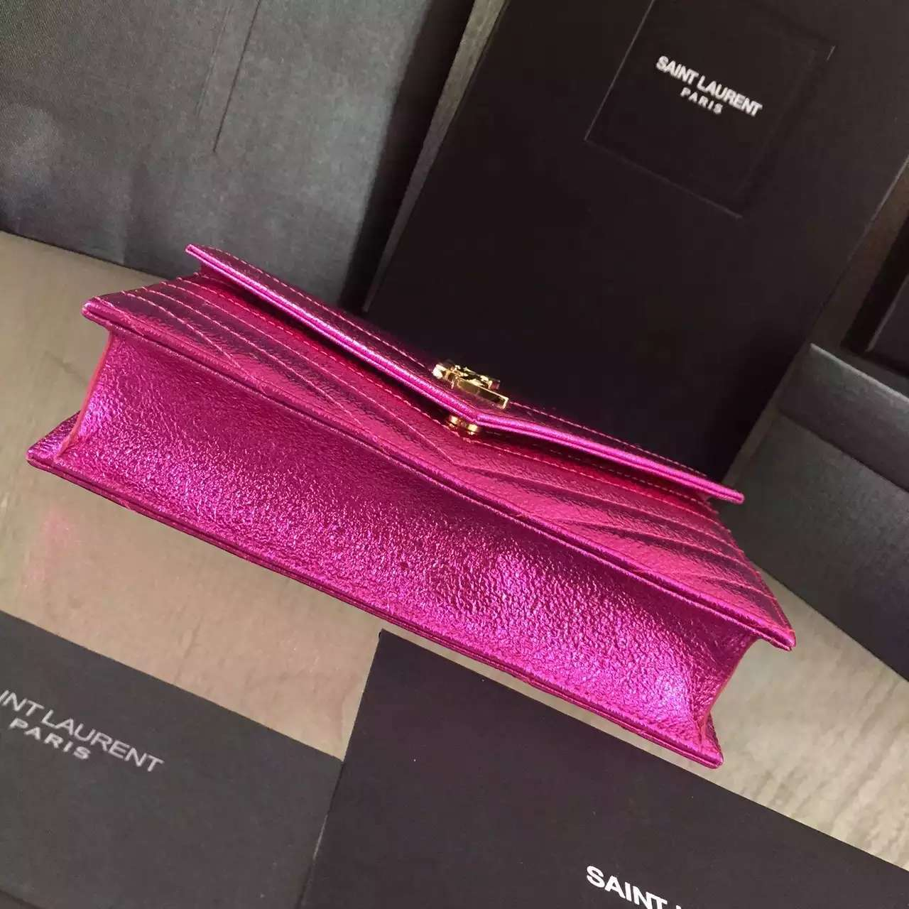 2016 Cheap YSL Out Sale with Free Shipping-Saint Laurent Monogram Envelope Chain Wallet in Rose Grained Matelasse Metallic Leather
