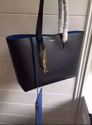 2015 New Saint Laurent Bag Cheap Sale-Saint Laurent Shopping Tote in Black Leather with Blue Lining