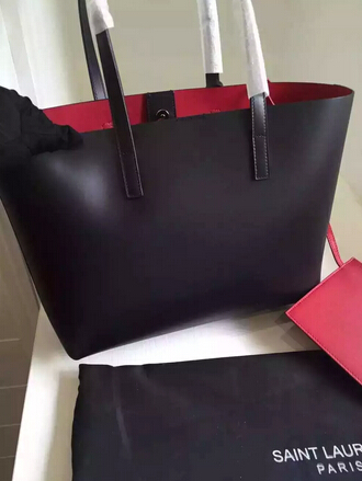 2015 New Saint Laurent Bag Cheap Sale-Saint Laurent Shopping Tote in Black Leather with Red Lining