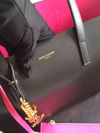 2015 New Saint Laurent Bag Cheap Sale-Saint Laurent Shopping Tote in Black Leather with Rose Lining