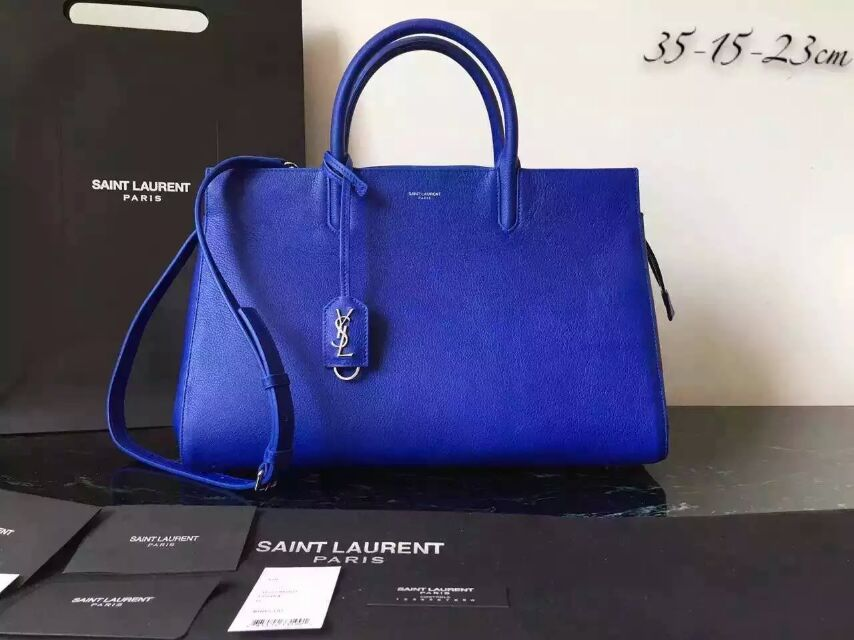 S/S 2015 New Saint Laurent Bag Cheap Sale-Saint Laurent Medium Cabas RIVE GAUCHE Bag in Electric Blue Grained Leather