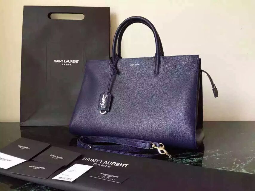 S/S 2015 New Saint Laurent Bag Cheap Sale-Saint Laurent Medium Cabas RIVE GAUCHE Bag in Navy Blue Grained Leather