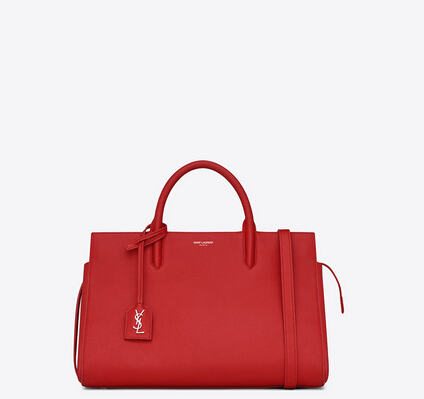 S/S 2015 New Saint Laurent Bag Cheap Sale-Saint Laurent Medium Cabas RIVE GAUCHE bag in Red Grained Leather