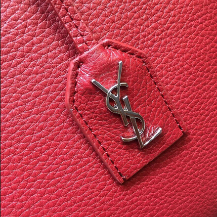 S/S 2015 New Saint Laurent Bag Cheap Sale-Saint Laurent Medium Cabas RIVE GAUCHE bag in Red Grained Leather - Click Image to Close