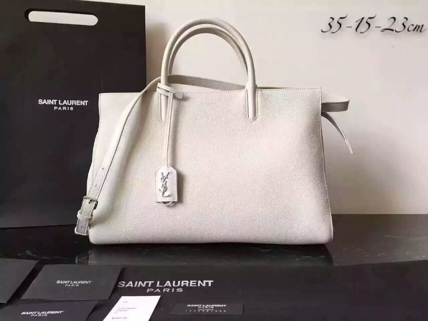 S/S 2015 New Saint Laurent Bag Cheap Sale-Saint Laurent Medium Cabas RIVE GAU CHE Bag in White Grained Leather
