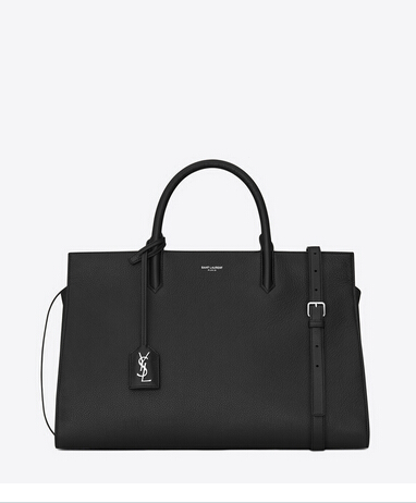 S/S 2015 Saint Laurent Collection Outlet-Saint Laurent Medium Cabas RIVE GAUCHE bag in Black Grained Leather